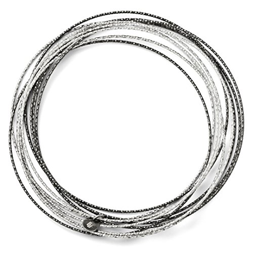 Steel Stainless Bracelet Cuff Sand (Sand Ruthenium Plated 10 Layer Slip On Bangle Bracelet Cuff Expandable Stackable Fashion Jewelry Gifts For Women For Her)