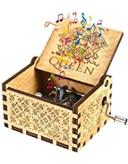 WOYAOY Muziekdoos, gesneden, met handslinger, van hout, houten muziekdoos, Queen muziekdoos, handslinger, muziekdoos, gesneden hout, handmuziekdoos, thema-muziekdoos, handwerk, kinderen, vrienden