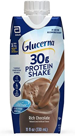 Glucerna 30g Protein Shake Diabetes Nutrition For Blood Sugar Management Meal Replacement Shake Rich 11 fl oz, Chocolate, 12 Count