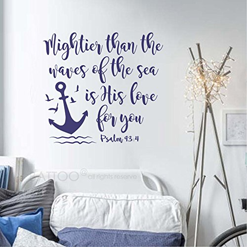 BATTOO Psalm 93:4 Mightier than the waves of the sea is His love for you - Nautical Nursery Anchor Seagull Wall Decal Child Bible Verse Vinyl Lettering(navy blue, 28