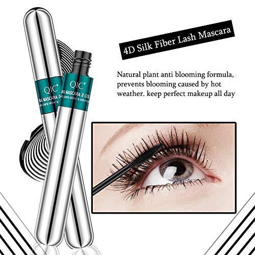 4D Silk Fiber Lash Mascara,2 in 1 Thrive Mascara Lengthening & Thicking Lash,Long Lasting Waterproof Mascara,Smudge-Proof, No Clumping,Voluminous Eyelashes,No Smudging Lasting All Day
