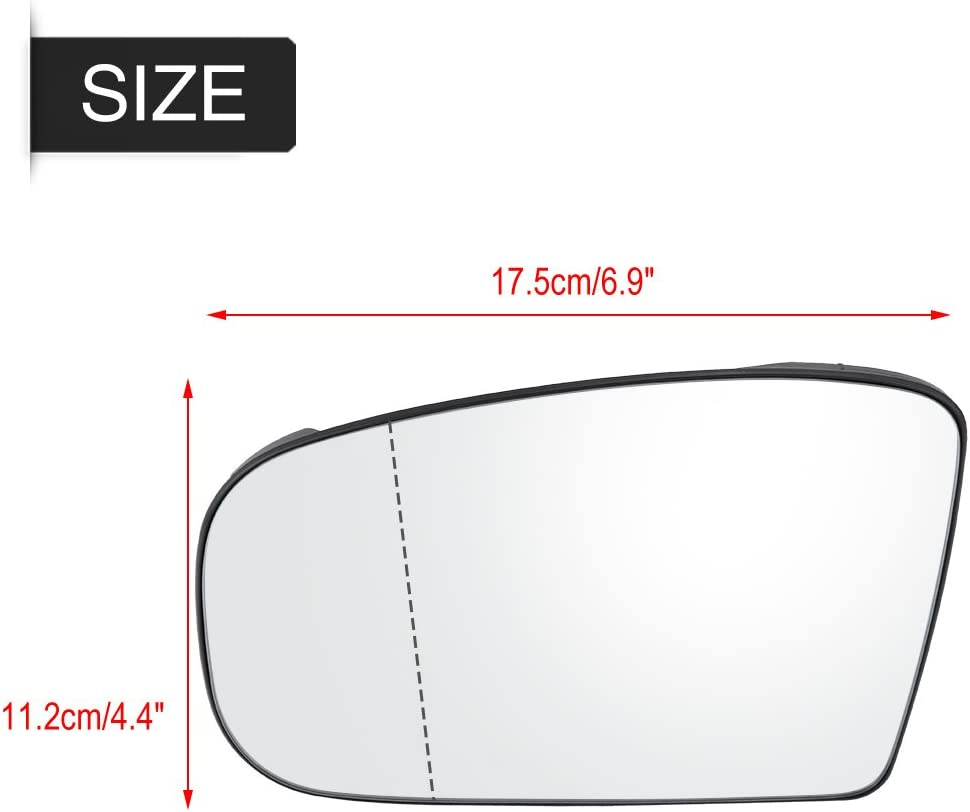 Terisass Side Mirror Glass 2208100121 Car Vehicle Left Door Side Rearview Mirror Glass Automobile Wing Mirror Glass Wide Angle for Mercedes-Benz S500 S600 CL500 CL600 S Class 1999-2003