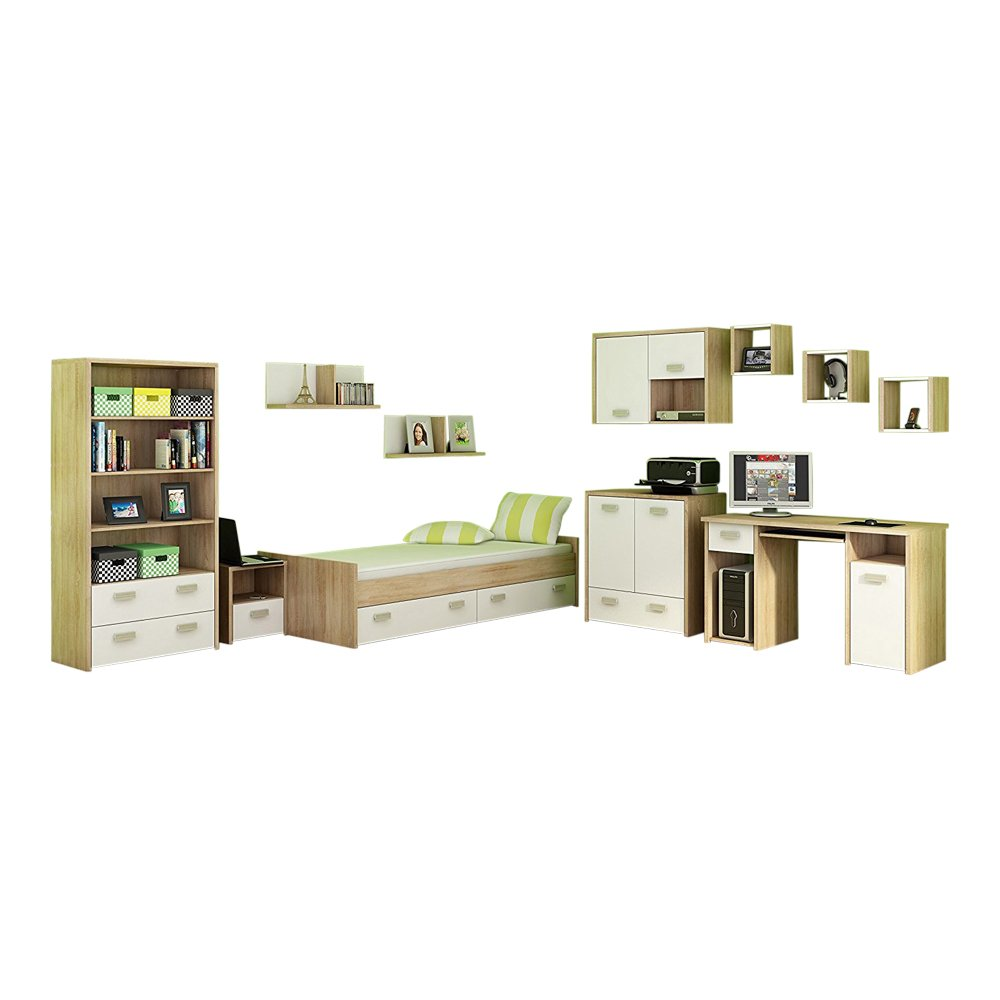 11 Pc Kids Bedroom Furniture Set, Twin Platform Storage Bed, Desk, Bookcase, Chest, Nightstand, 6 Shelves, White