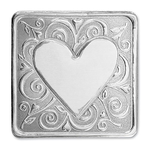Deluxe Embossed Whimsical Heart Silver Foil Certificate Seals, 1 1/4 Inches Square, 36 (Deluxe Foil Seals)