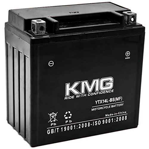 KMG YTX14L-BS Battery Compatible with Harley-Davidson 883 XL, XLH (Sportster) 2004-2012 Sealed Maintenance Free 12V High Performance SMF OEM Replacement Powersport Motorcycle ATV Snowmobile Watercraft