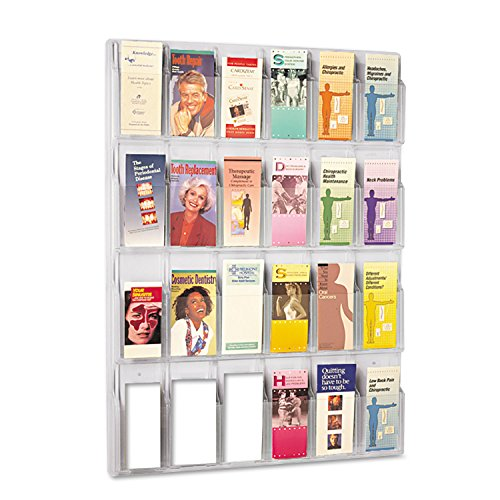 (Safco 5601CL Reveal Clear Literature Displays 24 Compartments 30w x 2D x 41h Clear)