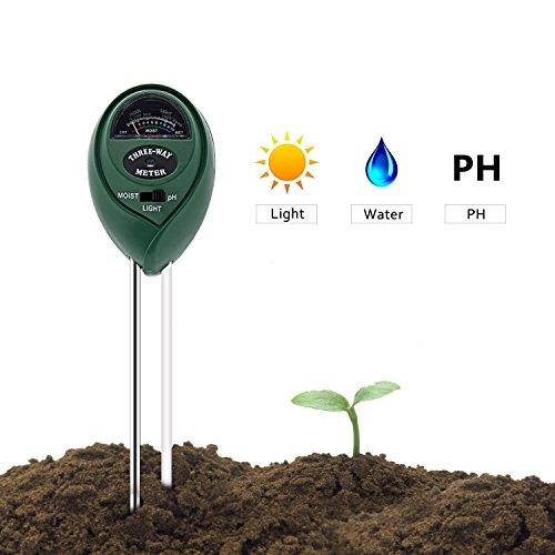 Soil Tester, Deepow 3-in-1 Soil Moisture Meter, Soil Ph Meter Kit for Moisture, Light & pH - Helpful...