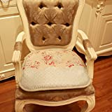 Solid wood leather chair cushion embroidery/ padded breathable non-slip chair cushion-A 47x49cm(19x19inch)
