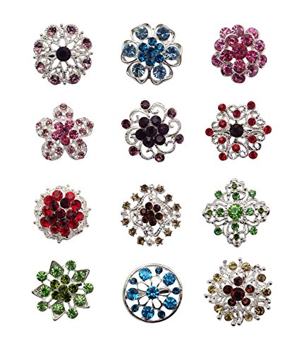 L'VOW Small Size Mixed Color Wedding Bridal Crystal Flower Brooches Pack of12 (Multicolor (2.2-3cm))