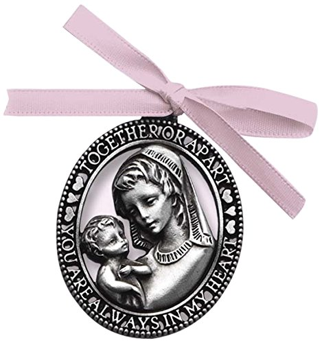 Cathedral Art CM4G Mother and Child with Pink Ribbon Baby Crib Medal for Jewelry Making, 3-Inch