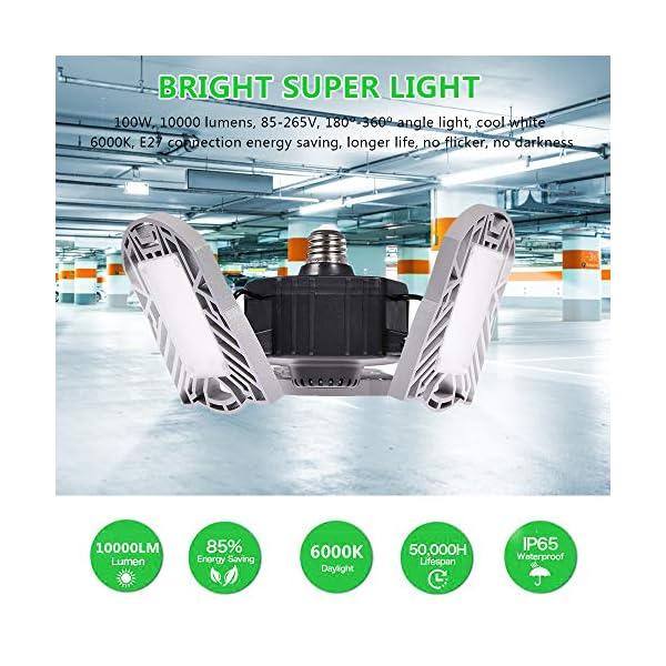 100W Deformable LED Garage Light Ceiling Light Factory Warehouse Industrial Lighting, 10000 Lumen IP65 Waterproof… 5