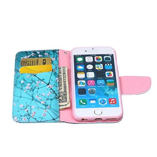 """iPhone 6 4.7"""" Coque , Apple iPhone 6 (4.7"""") Coque Lifetrut® [ fleurs bleues ] [Béquille Feature] [Slim Fit] Prime PU Housse en cuir Flip Cover stand avec carte Slots étui en cuir Coque Etui pour Apple"""