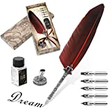 Ejoyous Quill Feather Pen Hand Made Antique Quill Dip Vintage Ink Set Calligraphy Writing Drawing Pen Write Smoothly Executive Gift with Ink Bottle 6 PCS Nibs for Art and Craft Red