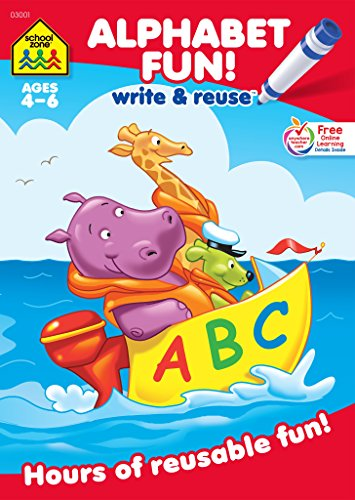 School Zone - Alphabet Fun! Write and Reuse Workbook - Ages 4 to 6, Preschool to Kindergarten, Letters, Sounds, Phonics, Wipe Clean (School Zone Write and Reuse Book Series)