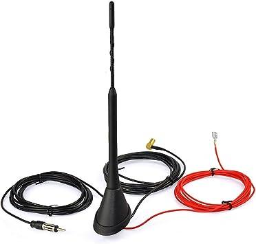 Eightwood Dab + FM/Am Antena Dab Radio Digital Antena SMB Macho Adaptador DIN Macho Autoradio Antena Splitter Antena Amplificador de señal Techo Techo ...