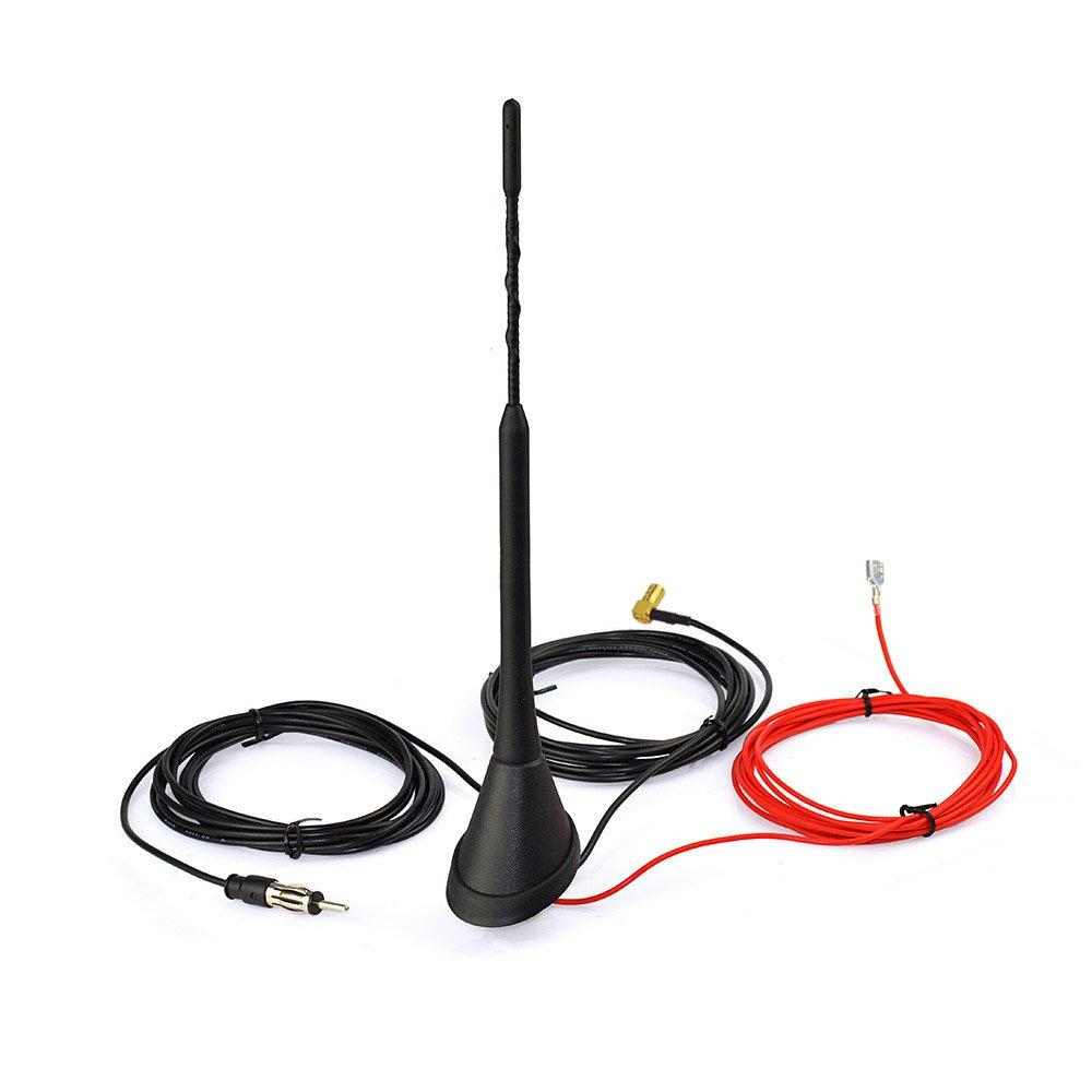 Eightwood DAB + Antenna DAB digitale (Adattatore SMD Amplificatore di segnale per montaggio a tetto per veicoli a Radio frequenza 500cm 16.4ft con barra flesibile 23cm) di: Blaupunkt Pioneer JVC. RFSolution EWAN518GE