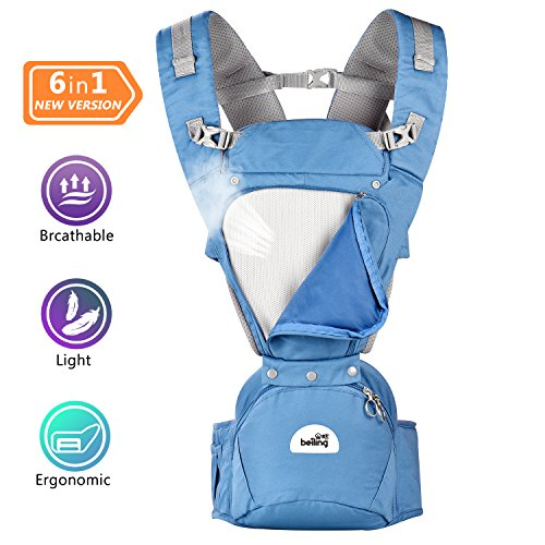 Baby Carrier With Hip Seat for All Seasons,360° Ergonomic Baby-Child Carrier With large storage space, 6-in-1 Positions Safe Positions for Infant & Toddlers,All Carry Positions, Newborn to Toddler by LGC Products