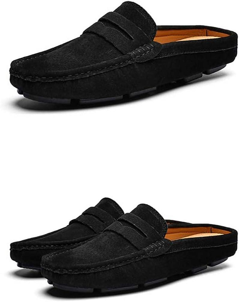 Hommes Mocassins D/ét/é Doux Respirant en Cuir Moiti/é Slipper Slip on Flats Anti Skid Couleur Unie Hommes Casual Chaussures