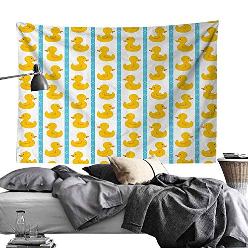 Homrkey Bedroom Living Room Dormitory Tapestry Rubber Duck Yellow Duckies with Blue Stripes and Small Circles Baby Nursery Play Toys Pattern Wall Hanging W84 x L54 Yellow and Blue