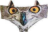 Ababalaya Womens' 3D Animal Print Cute Briefs with Ears, Owl,L