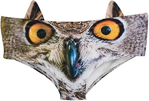 Ababalaya Womens' 3D Animal Print Cute Briefs with Ears, Owl,L - Owl Eagle Owl