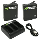 Wasabi Power Battery (2-Pack) & Triple Charger for GoPro HERO5 - HERO6 Black