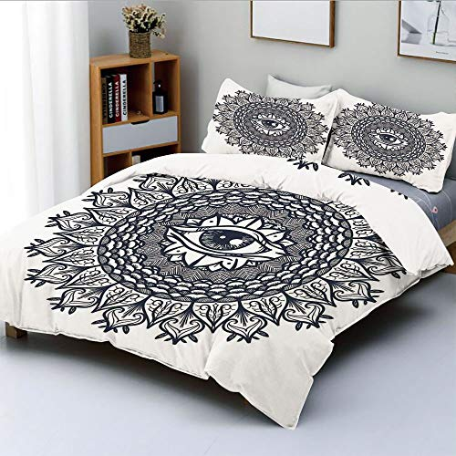 Duplex Print Duvet Cover Set Twin SizeVintage Circular Occult Pattern Knowledge of the Hidden Third Eye Providence SymbolDecorative 3 Piece Bedding Set with 2 Pillow Sham,Grey,Best Gift For Kids & Adu