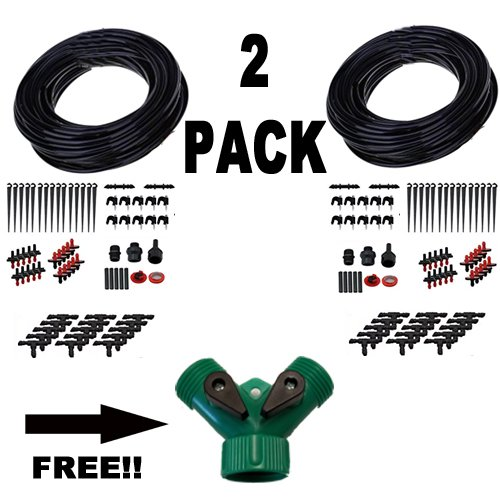 150 Feet Garden and Greenhouse Landscaping Irrigation Plant Watering Drip Hoses Sprinkler System Kit (w) FREE Hose (Greenhouse Irrigation System)