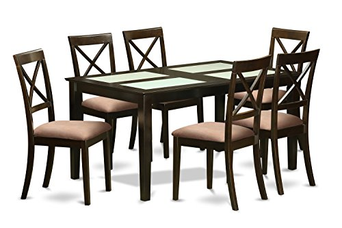 East West Furniture CABO7G-CAP-C 7 Piece Table with Glass Top Inserts and 6 Dining Room Chairs Set for 6 People