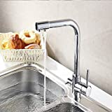 The copper color universal hot and cold water tap in the kitchen Arbitrary rotation