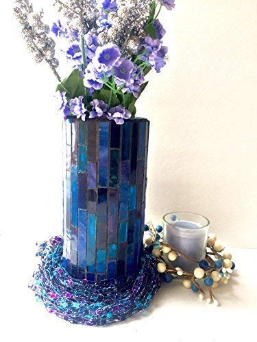 - Stained Glass Mosaic Vase in Deep Blue and Purple for Mother's Day Violet Bouquets