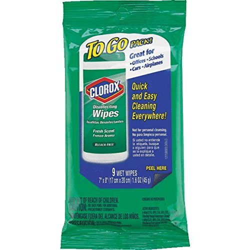 Clorox Disinfecting 9 wet Wipes ,kills cold and flu viruses,(7