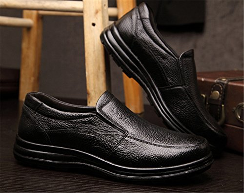 Loafers Casual slip Moccasin Lace Up Mens RAINSTAR Driving on Classic Black Shoes Cowskin tIqwxAqp4