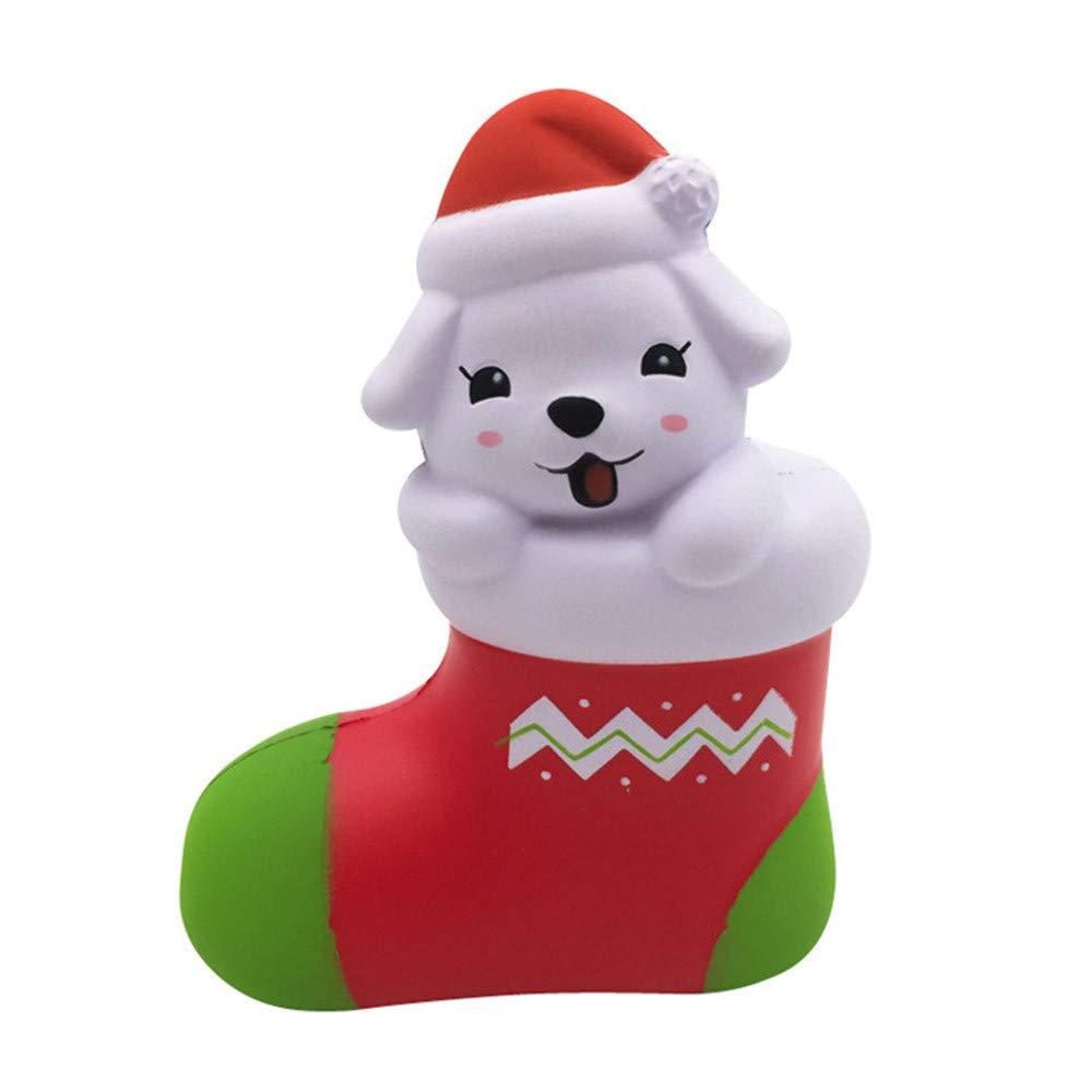 Italily Squishies Kawaii Natale Cucciolo Lento Crescente Profumato Stress Sollievo Giocattoli Profumato Spremere Sollievo dallo Stress per Bambini Collezione Ragazze Regalo (Rosa)