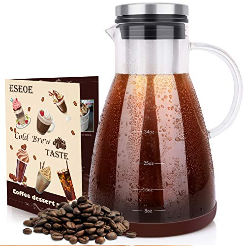 ESEOE Cold Brew Coffee Maker, Glass Pitcher Cold Brewer with Removable Filter – Perfect for DIY Brew Iced Coffee Borosilicate Glass