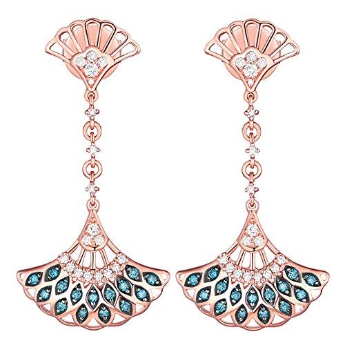 Prism Jewel 0.32Ct Blue/SI1 Diamond & Natural Diamond Hand Fan Style Drop Dangle Earrings, 14k Rose Gold