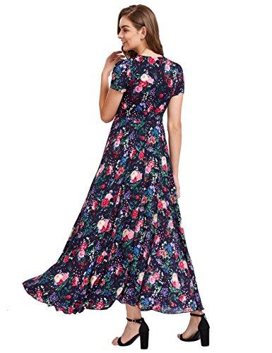 Button Women's Milumia up Print red Flowy Party Maxi Floral Black Split Dress x6UURw