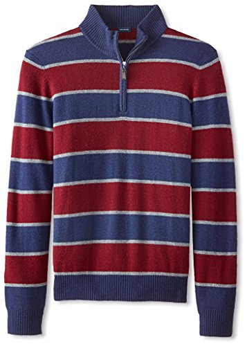 Thirty Five Kent Men's Wool/Cashmere Rugby Stripe Quarter Zip, British Blue Combo, M