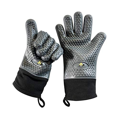PREMIUM Quality GREY Silicone Oven Mitts - ONLY on AMAZON