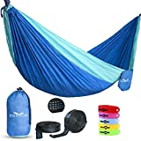 Donidin Double Hammock, XL, Fits 2 up to 400 lbs. for Camping, Hiking, and More Parachute Nylon, Weather Resistant, 10' L x 6.6' W with 2 Bonuses, Blue