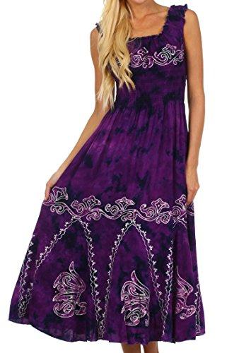 Sakkas 1429 Jamilah Gypsy Boho Peasant Batik Dress - Purple - One Size