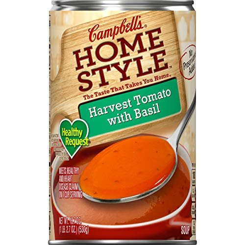 - Campbell's Homestyle Healthy Request Harvest Tomato with Basil Soup, 18.7 oz. (Pack of 12)
