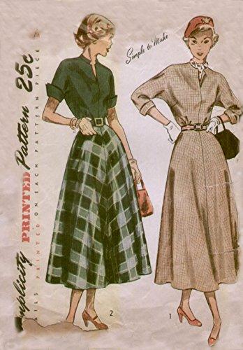 Simplicity 2764 Vintage 1940s Teen Dress Sewing Pattern ()