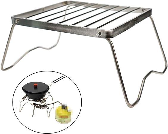 Geekbuzz Parrilla portátil de camping pequeña de acero inoxidable para camping, barbacoa de carbón de gas para mochilero, senderismo, picnic, pesca