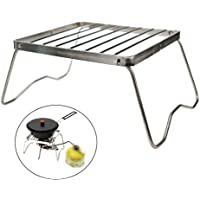 Camping Fire Pit Outdoor Wood Stove Burner 304 Premium Stainless Steel Odoland Folding Campfire Grill Portable Camping Grill with Carrying Bag for Outdoor Backpacking Hiking BBQ