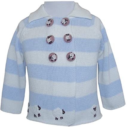 Powell Craft Hand Knitted Farm yard Sheep Blue and White Stripe Pram Coat - A lovely unisex gift for boy or girl, Size:6-12 months