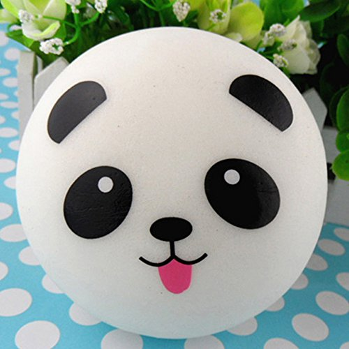 Pursuestar Jumbo Squishy Slow Rising Chubby Panda Bread Bun Phone Strap Charm Handbag Pendant Props Kid Toy 10cm ()