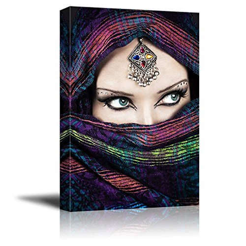 wall26 - Canvas Prints Wall Art - Arabic Woman with Beautiful Eyes | Modern Wall Decor/Home Decoration Stretched Gallery Canvas Wrap Giclee Print. Ready to Hang - 32