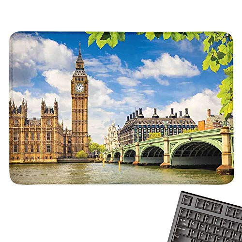 Londonlarge Mouse padHistorical Big Ben and Westminster Bridge Fresh Spring Season Leaves PictureComfortable Mousepad 15.7
