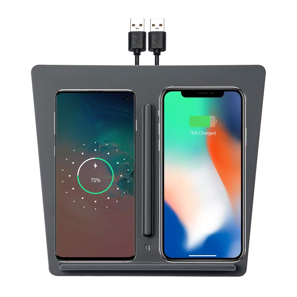 Tesla Model 3 Wireless Charger Dual Charging Dock with Two USB Splitter